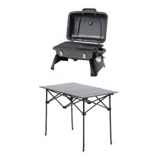 Gasmate Voyager Portable BBQ + Adventure Kings Aluminium Roll-Up Camping Table