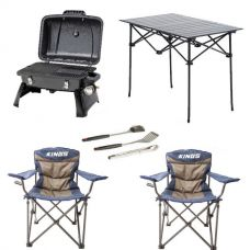 Gasmate Voyager Portable BBQ + Adventure Kings BBQ Tool Set + Aluminium Roll-Up Camping Table + 2x Throne Camping Chair