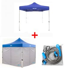 Adventure Kings - Gazebo 3m x 3m + 2x Adventure Kings Gazebo Side Wall + Portable Shower Kit