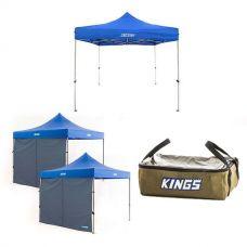 Kings Gazebo 3m x 3m + 2x Adventure Kings Gazebo Side Wall + Adventure Kings Clear Top Canvas Bag