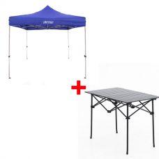 Adventure Kings - Gazebo 3m x 3m + Aluminium Roll-Up Camping Table