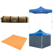 Adventure Kings - Gazebo 3m x 3m + 2x Gazebo Side Wall + Mesh Flooring 3m x 3m + Roof Top Canvas Bag