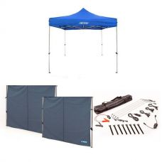 Adventure Kings - Gazebo 3m x 3m + 2x Gazebo Side Wall + Illuminator 4 Bar Camp Light Kit