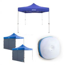 Adventure Kings - Gazebo 3m x 3m + 2x Adventure Kings Gazebo Side Wall + Mini Lantern