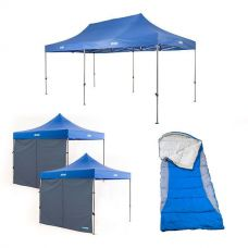 Adventure Kings - Gazebo 6m x 3m + 2x Adventure Kings Gazebo Side Wall + Kings Hooded Sleeping Bag