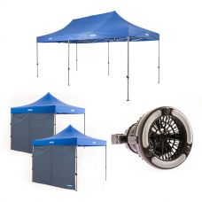 Adventure Kings - Gazebo 6m x 3m + 2x Adventure Kings Gazebo Side Wall + 2in1 LED Light & Fan