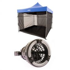 Adventure Kings Gazebo Mosquito Net + 2in1 LED Light & Fan