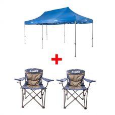Adventure Kings - Gazebo 6m x 3m + 2x Adventure Kings Throne Camping Chair