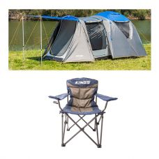 Adventure Kings 6 Person Geo Dome Tent + Adventure Kings Throne Camping Chair