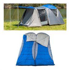 Adventure Kings 6 Person Geo Dome Tent + 2x Adventure Kings - Hooded Sleeping Bag