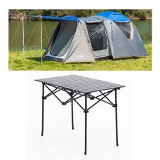 Adventure Kings 6 Person Geo Dome Tent + Aluminium Roll-Up Camping Table