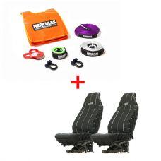 Hercules Essential Nylon Recovery Kit + Adventure Kings Heavy Duty Seat Covers (Pair)