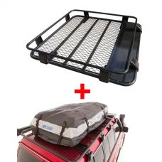 Steel Roof Rack 1/2 Length + Adventure Kings Premium Waterproof Roof Top Bag