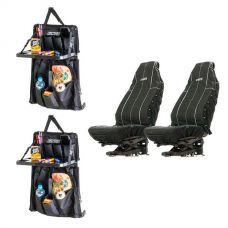 Adventure Kings Heavy Duty Seat Covers + 2x Premium Car Seat Organiser with Folding Table