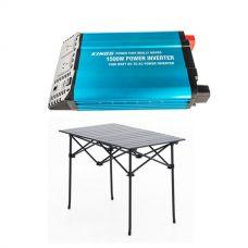 Adventure Kings 1500W Inverter + Adventure Kings Aluminium Roll-Up Camping Table