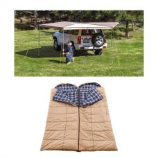 Adventure Kings 270° King Wing Awning + 2x Adventure Kings Premium Sleeping bag