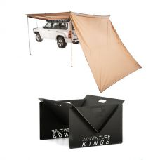 270° King Wing Awning Wall + Portable Steel Fire Pit