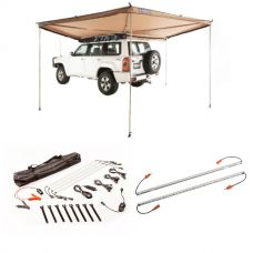 Adventure Kings 270° King Wing Awning + Illuminator 4 Bar Camp Light Kit + Orange LED Camp Light Extension Kit