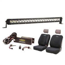 "Kings 20"" Slim Line LED Light Bar + Bar Wiring Harness + Adventure Kings - Neoprene Front Seat Covers (Pair)"