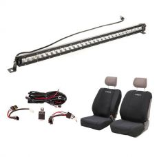 "Kings 30"" Slim Line LED Light Bar + Wiring Harness + Adventure Kings Neoprene Front Seat Covers"