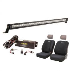 "Kings 40"" Slim Line LED Light Bar + Bar Wiring Harness + Adventure Kings Neoprene Front Seat Covers"