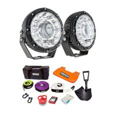 "Kings 7"" Laser Driving Lights (Pair) + Hercules Complete Recovery Kit"