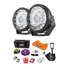 "Kings 8.5"" Laser MKII Driving Lights (pair) + Hercules Complete Recovery Kit - 11-piece"