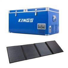 Kings 90L Camping Fridge Freezer | Dual Zone + 120w Solar Blanket