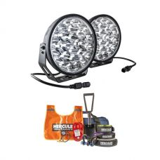 "Kings Domin8r Xtreme 9"" LED Driving Lights (Pair) + Hercules Complete Recovery Kit"