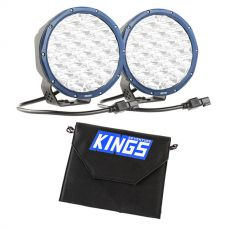 "Kings Domin8r X 7"" Driving Lights fitted with OSRAM LEDs (Pair) + Adventure Kings 10W Portable Solar Kit"