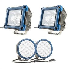 "Kings Domin8r X 7"" Driving Lights fitted with OSRAM LEDs (Pair) + Adventure Kings 3"" LED Work Light - Pair"