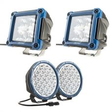 "Kings Domin8r X 9"" Driving Lights fitted with OSRAM LEDs (Pair) + Adventure Kings 3"" LED Work Light - Pair"