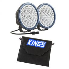 "Kings Domin8r X 9"" Driving Lights fitted with OSRAM LEDs (Pair) + Adventure Kings 10W Portable Solar Kit"