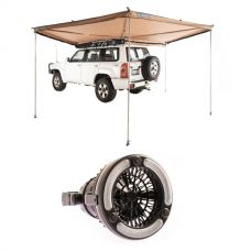 Adventure Kings 270° King Wing Awning + 2in1 LED Light & Fan