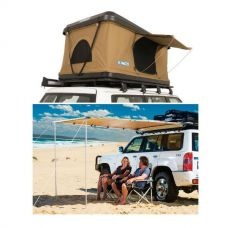 Adventure Kings 'Kwiky' Pop Up Roof Top Tent + 2.5 x 2.5m 2 in 1 Awning + Strip Light