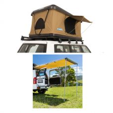 Adventure Kings 'Kwiky' Pop Up Roof Top Tent + Rear Awning - 1.4 x 2m