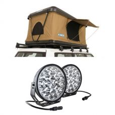 "Kings Kwiky MKII Hard Shell Rooftop Tent + Domin8r Xtreme 9"" LED Driving Lights (Pair)"