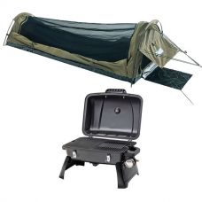 Adventure Kings Single Swag - Kwiky + Gasmate Voyager Portable BBQ