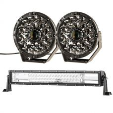 "Adventure Kings 8.5"" Laser Driving Lights + Domin8r 22"" LED Light Bar"