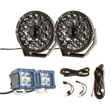 "Adventure Kings 8.5"" Laser Driving Lights + Smart Harness + 3"" LED Work Light - Pair"