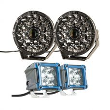 "Adventure Kings 8.5"" Laser Driving Lights + 3"" LED Work Light - Pair"