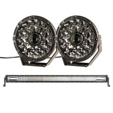 "Adventure Kings 8.5"" Laser Driving Lights + Domin8r 42"" LED Light Bar"