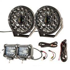 "Adventure Kings 8.5"" Laser Driving Lights + Plug N Play Smart Wiring Harness Kit + 4inch LED Light Bar (Pair)"