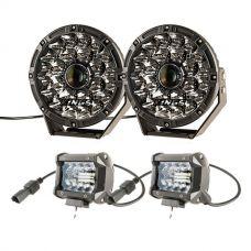 "Adventure Kings 8.5"" Laser Driving Lights + 4"" LED Light Bar (Pair)"