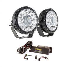 """Kings 7"""" Laser Driving Lights (Pair) + Spotlight Wiring Harness"""