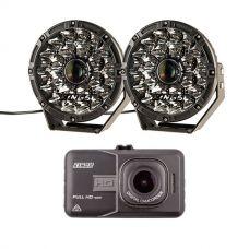 "Adventure Kings 8.5"" Laser Driving Lights + Adventure Kings Dash Camera"
