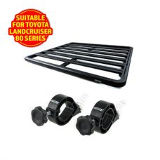 Adventure Kings Aluminium Platform Roof Rack Suitable for Toyota Landcruiser 80 Series 1990-1997 + Platform Roofrack Shovel Holder