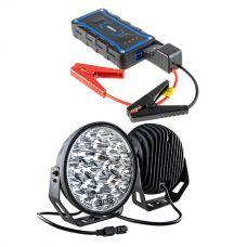"""Kings 9"""" LED Driving Lights (Pair) + Jump Starter"""