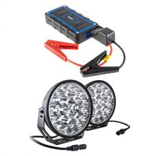 """Adventure Kings Domin8r Xtreme 9"""" LED Driving Lights (Pair) + Jump Starter"""