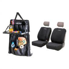Adventure Kings Neoprene Seat Covers + Premium Car Seat Organiser with Folding Table